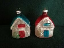 Set 2 vintage Lauscha Glass Cottage Houses Figural Christmas Ornament W. Germany