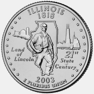 "ILLINOIS 2003  State Quarter 25c Brilliant Uncirculated  "" D "" Mint   IL"