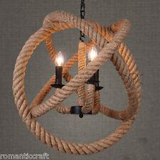 American Industrial Retro DIA 35CM Flax Rope Pendant Hanging Light Ceiling Lamp