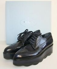 $950 BNIB PRADA  Blue Scalloped Platform Leather Oxford 41 / 11