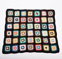 """Vintage Granny Square Crochet Knit Afghan 50"""" x 42"""" Throw Blanket MultiColor"""