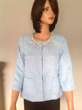Joan Rivers Dressy Jacket XS NWT Tweed Sky Blue Beaded Designer's Fashion Chic