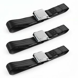 Chevy Impala 1971 - 1976 Airplane 2pt Black Lap Bench Seat Belt Kit - 3 Belts