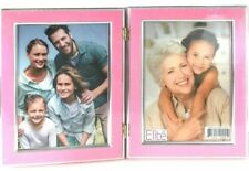 Picture Frame Double Hinged Pink Holds (2) 5x7 Pictures