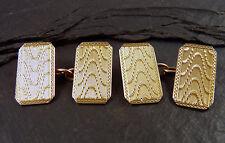 Vintage Pair of 9ct Gold Cufflinks - Engine Turned - UK Hallmaked 1927