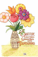 Mary Engelbreit-Gratitude Flowers Vase-Thank You Friendship Greeting Card-New!