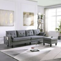 4-Seaters Upholstered Fabric Sectional Sofa/Couch with Storage Ottoman Pillows