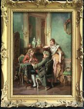 19th CENTURY LARGE  FRENCH / ITALIAN OIL CANVAS - ELEGANT FIGURES PLAYING CHESS