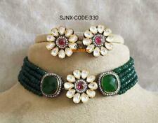 Indian Kundan Green Onyx CZ Necklace Earring Set Women Fashion Pakistani Jewelry