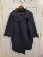 Ladies Paul Costelloe Cardigan Grey Chucky Size 18 Pockets Long Collar 3/4 Sleev