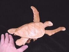 (q67-c) swimming SEA TURTLE PARASITE WOOD carving FIGURINE wooden I love turtles