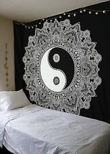 Black And White Yin Yang Tapestry Wall hanging Mandala Tapestry Queen Tapestry B