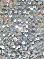 RAIN DROP SEQUIN STRETCH VELVET FABRIC - Silver - SOLD BY THE YARD DRESS DECOR
