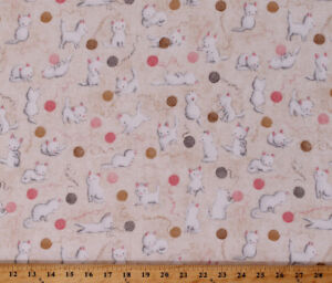 Flannel Cuddly Kittens Cats Yarn Balls Tan Cotton Flannel Fabric by Yard D281.03