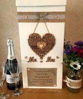 WEDDING CARD POST BOX PERSONALISED MR & MRS WOOD HEART WORDS OF LOVE HESSIAN