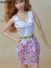 Pink & White Causal Dress For Barbie Doll Clothes Mini Dress For 1/6 BJD Doll