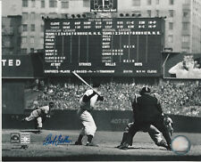 Indians Bob Feller autographed 8x10 photo pitching to NYY Joe DiMaggio