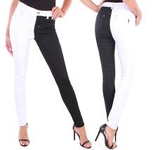Stretch Jeans Hose High Waist Hochschnitt Schwarz Weiß Damen Röhrenjeans  ★A9015