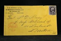 New York: New York City 12c Banknote Cover to England, Fancy Foreign Mail Cancel