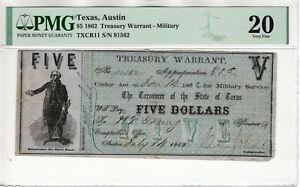1862 $5 TREASURY WARRANT AUSTIN TEXAS OBSOLETE NOTE PMG VERY FINE VF 20 (069)