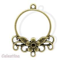 2 Antique Bronze Earrings Connectors Links Chandelier Loop Flower 34mm x 27mm