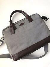 Fossil Men's Grey Canvas Brown Leather Wyatt Work Bag Brief Briefcase MBG9273020