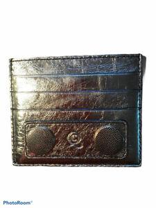Alexander McQueen Mens gold studded wet calf credit card holder