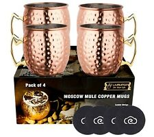 New ListingMoscow Mule Mugs Set of 4 Handcrafted Copper Cocktail Cups Kit 18Oz with Coaster