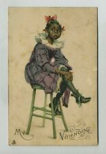 Early Valentine Tuck Postcard Greeting Black Americana Young Girl Child yz5539
