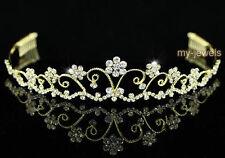 Sposa Matrimonio vintage fiore cristallo placcato oro Tiara T1182