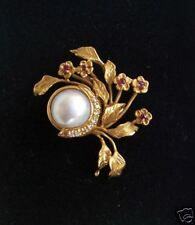 Givenchy Brooch - Diamonds - Rubies - Mobe Pearl- Franklin Mint - NEW