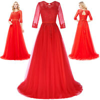 Formal Long LACE Wedding Dresses Prom Party Bridesmaid Evening Dress Red# UK4~18