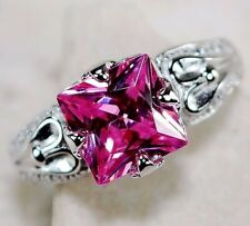 Top Quality 2CT Pink Sapphire 925 Solid Sterling Silver Ring Jewelry Sz 6, M4