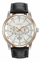 Citizen Eco-Drive Men's BU2016-00A Silver Dial Black Leather Strap Watch