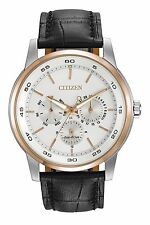 Citizen Eco-Drive Men's BU2016-00A Silver Dial Black Leather Strap Watch