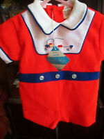 18m NWT GIRLS BOYS Vtg 70s RED KNIT ROMPER JUMPER PLAYSUIT EMBROIDERED TRAIN!