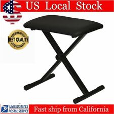 Black Piano Keyboard Folding Adjustable Padded Stool Chair Seat Bench MA