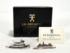 Rare NIB Vintage J.H Breakell Newport Sterling Boat Ship Wauwinet Lapel Pins 25g