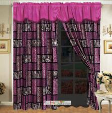 4-Pc Rectangle Patchwork Leopard Cheetah Jaguar Tiger Faux Fur Curtain Set Pink