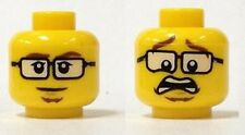 LEGO - Minifig, Head Male Black Glasses, Brown Eyebrows & Goatee / Scared