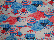 CUP CAKES GLITTER CUPCAKES COLORS COTTON FABRIC FQ