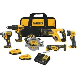 DeWALT DCK677D2 20V MAX Lithium Ion Brushless Cordless 6 Tool Combo Kit