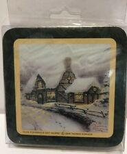 Thomas Kinkade 2004 Hallmark Green Gold Trim Cork Bottom Coasters 2 Boxes of 4