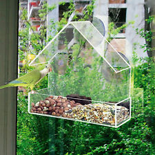 Glass Window Bird Feeder Table Seed Peanut Hanging Suction Perspex Clear Viewing