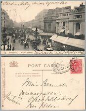 REGENT STREET LONDON UK ANTIQUE 1904 POSTCARD  w/ STAMP