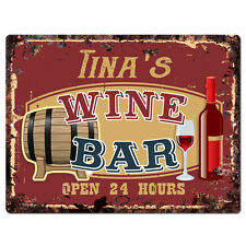 PWWB0092 TINA'S WINE BAR OPEN 24Hr Rustic Tin Chic Sign Home Decor Gift