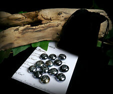 13 WITCHES RUNES & BAG Black and Silver  Witch Wicca Pagan Divination Gift