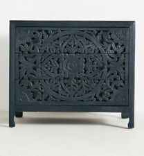 Solid wooden hand carved black textured sideboard with drawers
