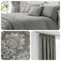 Serene LAURENT Graphite Grey Damask Jacquard Bedding, Curtains & Cushions