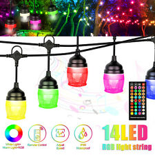 43Ft Waterproof Led String Lights Bulbs Cafe Rgb Color Changing Lamp w/2 Remote